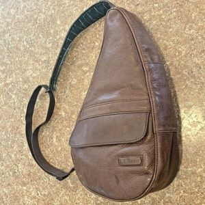 LL Bean Brown Leather AmeriBag Healthy Back Bag